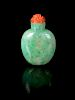 An Apple Green and Celadon Jadeite Snuff Bottle Height 2 in., 5 cm.