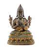 A Sino-Tibetan Parcel-Gilt Bronze Figure of Tshongkapa Height 8 1/2 in., 22 cm.