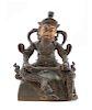 A Sino-Tibetan Parcel-Gilt Bronze Figure of Virudhaka Height 6 in., 15 cm.
