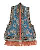 A Blue Ground Embroidered Silk Lady's Vest, Xiapi Collar to hem: 39 in., 99 cm.