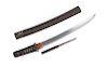 A Japanese Wakazashi Blade length 13 1/2 in., 24 cm; Overall length 18 7/8 in., 48 cm.