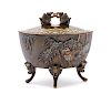 A Japanese Mixed-Metal Incense Burner, Koro Height 5 5/8 x length 6 x width 3 1/2 width in., 15 x 14 x 9 cm.