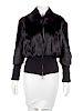 Black Fur Zip Jacket with Knit Waist and Cuffs, 1990's