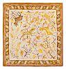 Hermes scarf, tile print with deer print