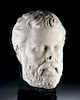 Roman Near Lifesize Marble Head of a Philosopher
