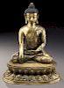 Important large Chinese Ming Tibetan gilt bronze