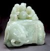 Chinese Qing Qianlong Imperial carved white jade