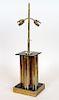 BRASS LUCITE CLUSTER COLUMN TABLE LAMP C.1970