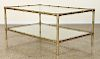 BRASS BAMBOO 2-TIER GLASS TOP COFFEE TABLE C.1970