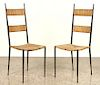 PAIR OF FRENCH IRON AND RUSH SIDE CHAIRS C.1950