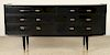 MID CENTURY MODERN EBONIZED COMMODE BRONZE TRIM