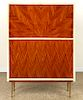 PARCHMENT WOOD FALL FRONT BAR CABINET C.1960