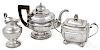 Coin silver teapot, sugar and creamer