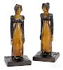 Pair of carved and painted figures of a woman