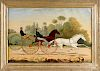 British oil on canvas of racing skeleton wagons