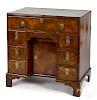 George II burl veneer kneehole desk, ca. 1750