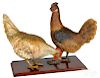 Pair of French or Austrian terra cotta roosters