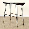 MACASSAR SIDE TABLE IRON BRASS LEGS CASTERS C1950