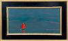 """Robert Stark Jr. Oil on Canvas """"Red Sail Rounding Great Point"""""""