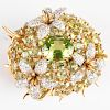 Schlumberger for Tiffany & Co. 18k Gold, Diamond and Peridot Floral Pin