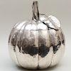 Large Italian Silver Pumpkin Form Vessel