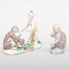 Bow Porcelain Figure Group of Monkey with Fruit and another Figure of a Monkey