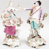 Large Pair of Chelsea Porcelain Figures of the Imperial Shepherds