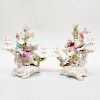 Pair of English Porcelain Bocage Two-Light Figural Candlesticks Emblematic of Matrimony, Possibly Derby