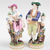 English Porcelain Figure of a Gardener & Companion, Probably Derby