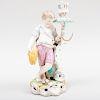 Stevenson & Hancock Derby Porcelain Figural Candlestick Emblematic of Summer