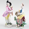 English Porcelain Figure of Matrimony and a Porcelain Figure of a Beggar Musician, Probably Samson