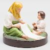 Popov Russian Porcelain of Peasant Woman with Child Figure Group
