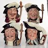 4 LG ROYAL DOULTON CHARACTER JUGS, THE MUSKETEERS