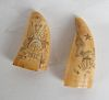 Two Scrimshaw Tooth Carvings, Dated 1812 & 1861