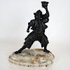 Bronze Samurai Figural Candleholder