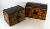 Two Folk Art Decorated Dome Trunks