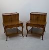 Pair of Tambour Provincial Step Tables