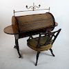 Regency-Style Tambour Cylinder Desk and Chair