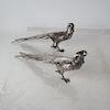 Pair Continental Silver Plate Pheasants