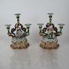 Pair German Porcelain Floral Candelabra