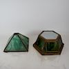 Slag Glass Shade and Green Lantern