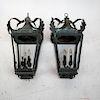 Pair 19th C. Coach Lanterns, Copper