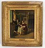 P. Van SLINGELANDT: Interior Scene - Oil on Tin