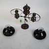 Victorian Student Lamp, Green Shades