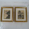 Pair Chinese Landscape Watercolors