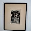 "Norman KENT:  ""Cobblestone Alley"" - Woodcut Print"