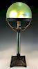 Loetz Green Iridescent Art Glass Bronze Dome Lamp