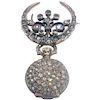 19th Century French Diamond Swiss Movement Watch and Brooch Pin