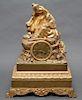 French Ormolu Gilt Bronze Figurative Mantel Clock