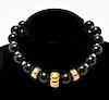 18K Yellow Gold & Black Onyx Beads Choker Necklace